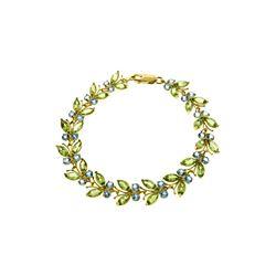 Genuine 16.5 ctw Blue Topaz & Peridot Bracelet 14KT Yellow Gold - REF-179Z2N