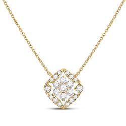 1/3 CTW Womens Round Diamond Floral Cluster Necklace 14kt Yellow Gold - REF-40T8V