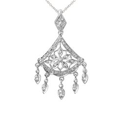 0.29 CTW Diamond Necklace 14K White Gold - REF-38W4H
