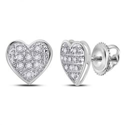 1/20 CTW Womens Round Diamond Heart Cluster Stud Earrings 10kt White Gold - REF-9N5A
