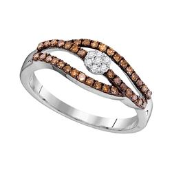 1/3 CTW Womens Round Brown Diamond Strand Cluster Ring 10kt White Gold - REF-19N2A