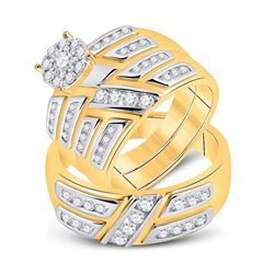1 CTW His Hers Round Diamond Solitaire Matching Wedding Set 10kt Yellow Gold - REF-109A3M