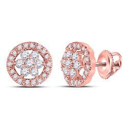 1/2 CTW Womens Round Diamond Flower Cluster Earrings 14kt Rose Gold - REF-39H5R