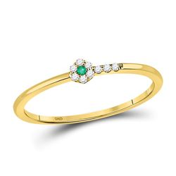1/20 CTW Womens Round Emerald Diamond Stackable Band Ring 10kt Yellow Gold - REF-9M5F