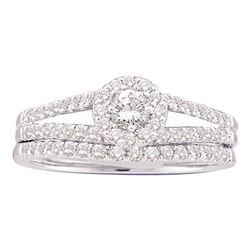 5/8 CTW Round Diamond Split-Shank Bridal Wedding Ring 14kt White Gold - REF-70A8M