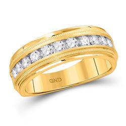 1/4 CTW Mens Round Diamond Wedding Single Row Band Ring 10kt Yellow Gold - REF-46F3W