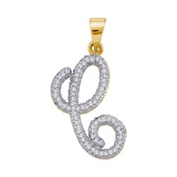 1/5 CTW Womens Round Diamond Cursive C Letter Pendant 10kt Yellow Gold - REF-15F2W