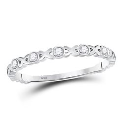 1/12 CTW Womens Round Diamond XOXO Love Stackable Band Ring 10kt White Gold - REF-13H5R
