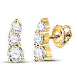 1/2 CTW Womens Round Diamond Fashion 3-stone Earrings 10kt Yellow Gold - REF-54T5V