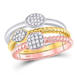 1/5 CTW Womens Round Diamond Trio Stackable Band Ring 10kt Tri-Tone Gold - REF-45Y2N