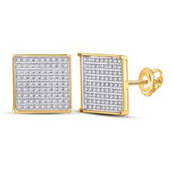 1/2 CTW Womens Round Diamond Cluster Earrings 10kt Yellow Gold - REF-25N9A