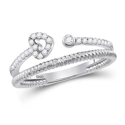 1/6 CTW Womens Round Diamond Heart Stackable Band Ring 10kt White Gold - REF-22W5H
