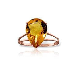 Genuine 5 ctw Citrine Ring 14KT Rose Gold - REF-34R3P