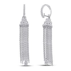 1 & 5/8 CTW Womens Round Diamond Chain Teardrop Dangle Earrings 14kt White Gold - REF-170V5Y