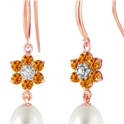 Genuine 9.01 ctw Citrine, Pearl & Diamond Earrings 14KT Rose Gold - REF-44H3X