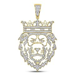 3/4 CTW Mens Round Diamond King Lion Crown Charm Pendant 10kt Yellow Gold - REF-88H5R