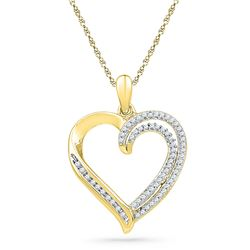 1/4 CTW Womens Round Diamond Open-center Heart Pendant 10kt Yellow Gold - REF-27H3R