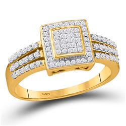 1/3 CTW Womens Round Diamond Square Cluster Ring 10kt Yellow Gold - REF-31N4A