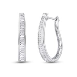 1 CTW Womens Baguette Diamond Hoop Earrings 14kt White Gold - REF-72H3R