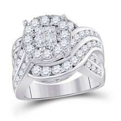 2 & 1/2 CTW Princess Diamond Cluster Bridal Wedding Engagement Ring 14kt White Gold - REF-272H6R