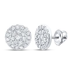 3/4 CTW Womens Round Diamond Cluster Earrings 10kt White Gold - REF-47A6M