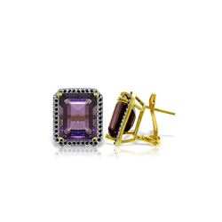Genuine 11.60 ctw Amethyst & Black Diamond Earrings 14KT Yellow Gold - REF-127N9R