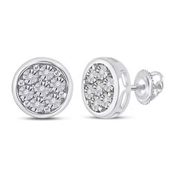 1/20 CTW Womens Round Diamond Circle Cluster Earrings 10kt White Gold - REF-16N4A