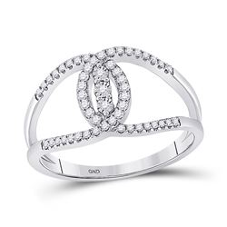 1/5 CTW Womens Round Diamond Fashion 3-stone Ring 14kt White Gold - REF-24R5X