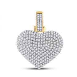 3/4 CTW Mens Round Diamond Heart Charm Pendant 10kt Yellow Gold - REF-47F6W