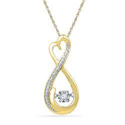 0.03 CTW Womens Round Diamond Infinity Moving Twinkle Pendant 10kt Yellow Gold - REF-19F2W