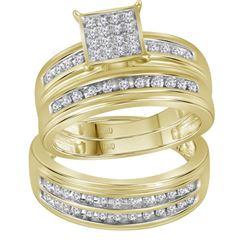 1/2 CTW His Hers Round Diamond Square Matching Wedding Set 10kt Yellow Gold - REF-71W6H