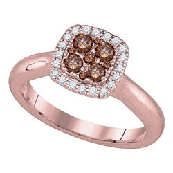 1/2 CTW Womens Round Brown Diamond Square Ring 14kt Rose Gold - REF-54N5A