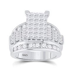 3 CTW Princess Diamond Cluster Bridal Wedding Engagement Ring 14kt White Gold - REF-296T6V