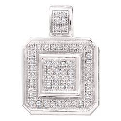 1/6 CTW Womens Round Diamond Square Pendant 10kt White Gold - REF-16A4M