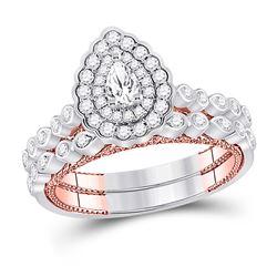 1 CTW Pear Diamond Bridal Wedding Ring 14kt Two-tone Gold - REF-122X6T