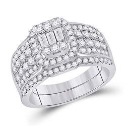 1 CTW Baguette Diamond Bridal Wedding Ring 14kt White Gold - REF-115F8W