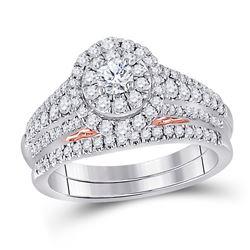 1 CTW Round Diamond Bridal Wedding Ring 14kt Two-tone Gold - REF-122W6H
