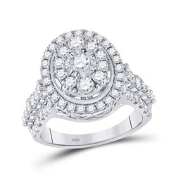 1 & 5/8 CTW Womens Round Diamond Right Hand Cluster Ring 14kt White Gold - REF-170A5M