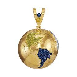 1 CTW Mens Round Blue Color Enhanced Diamond Globe Earth Pendant 10kt Yellow Gold - REF-119W4H