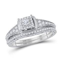 1/2 CTW Princess Diamond Bridal Wedding Ring Band Set 10kt White Gold - REF-47F6W