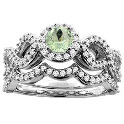 0.92 CTW Amethyst & Diamond Ring 14K White Gold - REF-93A2X