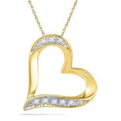 0.03 CTW Womens Round Diamond Heart Pendant 10kt Yellow Gold - REF-6R3X
