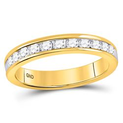 1/2 CTW Womens Round Diamond Single Row Wedding Band Ring 14kt Yellow Gold - REF-61A4M
