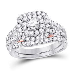 1 & 1/4 CTW Round Diamond Bridal Wedding Ring 14kt Two-tone Gold - REF-187Y5N