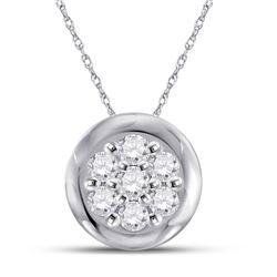 1/10 CTW Womens Round Diamond Flower Cluster Pendant 10kt White Gold - REF-10M3F