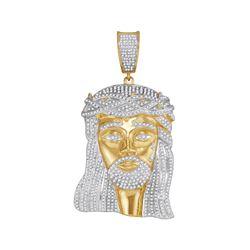 2 & 1/2 CTW Mens Round Diamond Jesus Charm Pendant 10kt Yellow Gold - REF-238Y5N