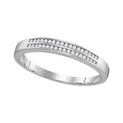 1/5 CTW Mens Round Diamond Slender Double Row Band Ring 10kt White Gold - REF-17F6W