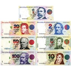 Banco Central De La Republica Argentina, 1992-97 Specimen Set of 6 Notes.