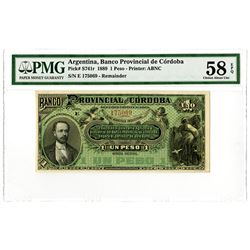 Banco Provincial de Cordoba. 1889. Remainder Banknote Tied with One other for Highest Graded.
