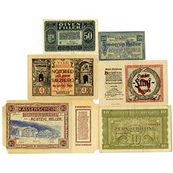 Various Austrian Notgeld Issuers. 1920-1944. Lot of 6 Issued Notes.
